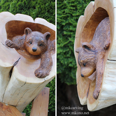 Bear Cub in the hole wood carving 3