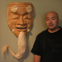 Japanese Noh mask Okina woodcarving