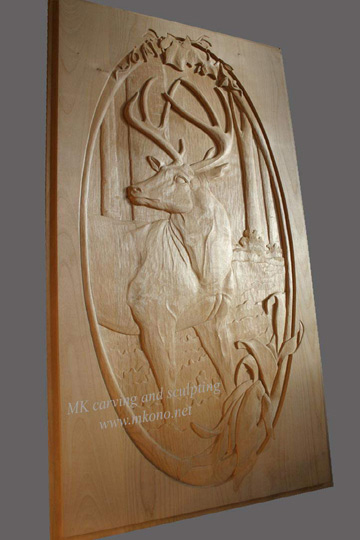 Deer carved door whole & Woodcarving Carved Door Sculpture by MK Carving Canada / gallry1 ...