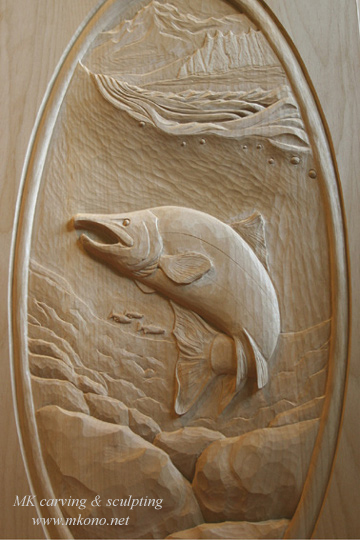 Salmon carved door up & Woodcarving Carved Door Sculpture by MK Carving Canada / gallery1 ...