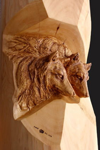 Wolf woodcarving 3